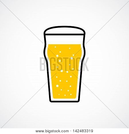 Pint of lager beer with foam and bubbles. Vector icon