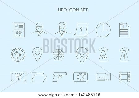 Set Of Vector Logo With Ufo, Alias And Cosmic Ship.