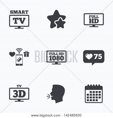 Smart TV mode icon. Widescreen symbol. Full hd 1080p resolution. 3D Television sign. Flat talking head, calendar icons. Stars, like counter icons. Vector