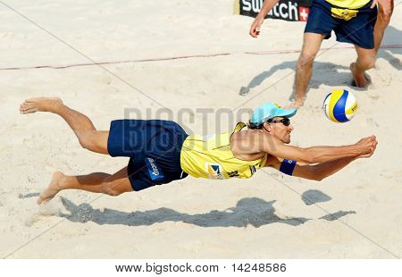 PRAGUE - JUNE 18:Emanuel Rego (BRA) beach volleyball compete at SWATCH FIVB World Tour 2010 June 18, 2010 Prague