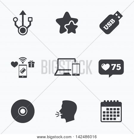 Usb flash drive icons. Notebook or Laptop pc symbols. Smartphone device. CD or DVD sign. Compact disc. Flat talking head, calendar icons. Stars, like counter icons. Vector
