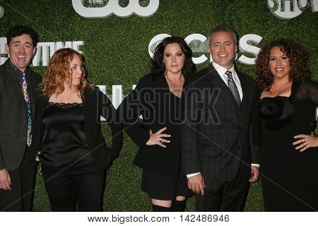 LOS ANGELES - AUG 10:  Matt Cook, Jessica Chaffin, Liza Snyder, Matt LeBlanc, Diana Maria Riva at the CBS Summer 2016 TCA Party at the Pacific Design Center on August 10, 2016 in West Hollywood, CA