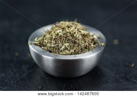 Dried Stevia Leaves (on A Slate Slab)