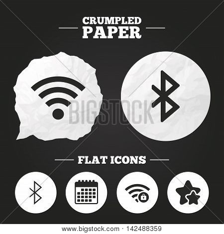 Crumpled paper speech bubble. Wifi and Bluetooth icons. Wireless mobile network symbols. Password protected Wi-fi zone. Data transfer sign. Paper button. Vector