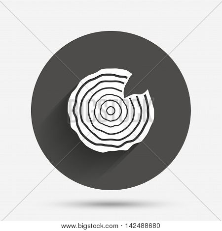 Wood sign icon. Tree growth rings. Tree trunk cross-section with nick. Circle flat button with shadow. Vector poster
