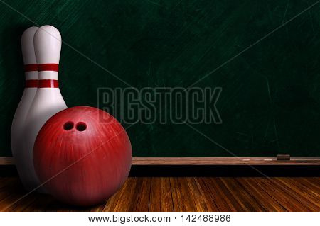 Game Concept With Bowling Equipment And Chalk Board