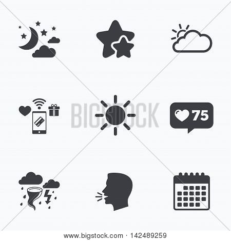 Weather icons. Moon and stars night. Cloud and sun signs. Storm or thunderstorm with lightning symbol. Flat talking head, calendar icons. Stars, like counter icons. Vector