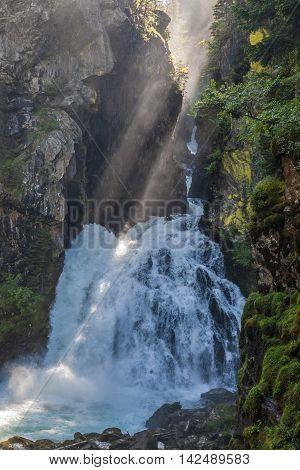 Huge Waterfall In  South Tyrol