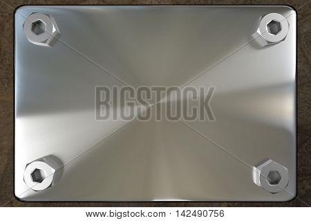 blank metal board with four steel screws, 3d rendering