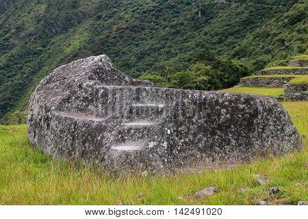 Funerary Stone At Inca Citadel Machu Picchu In Peru