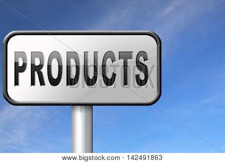 Products for sale at online internet web shop, webshop cataloge road sign billboard 3D illustration