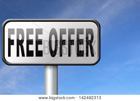 free offer online bargain gratis download online internet web shop, road sign billboard. 3D illustration