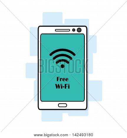 Free Wi-Fi. A hand drawn vector illustration of a smartphone with a free Wi-Fi symbol on it.