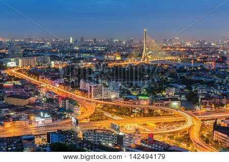 Elevated highway and overpass road with bridge. The curve of highway and overpass road with suspension bridge in Bangkok Thailand.
