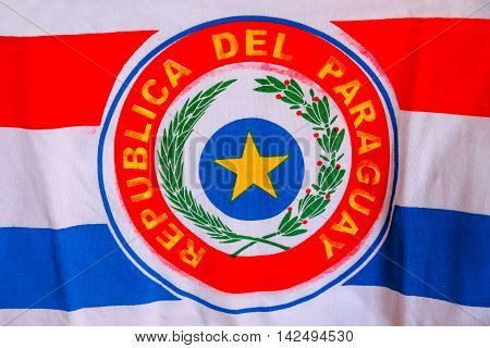 Close-up of national flag of Paraguay, South America