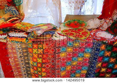 Display Of Nanduti At The Street Market In Asuncion, Paraguay
