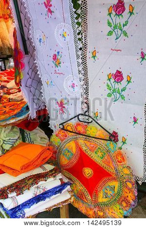 Display of nanduti at the street market in Asuncion Paraguay. Nanduti is a traditional Paraguayan embroidered lace introduced by the Spaniards