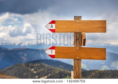 Empty wooden signpost in the mountains with bad weather