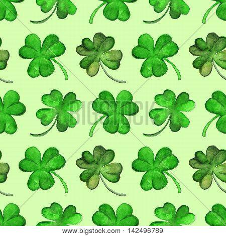 Watercolor green clover shamrock Saint Patrick's Day seamless pattern