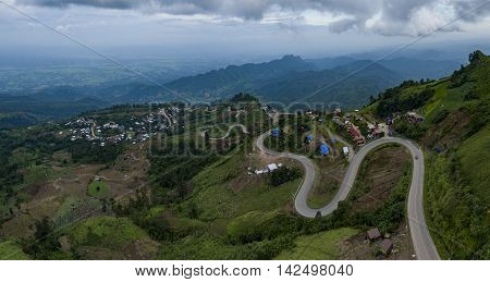 aerial view of mountain road to tubberk peak petchabun province important natural traveling destination in thailand