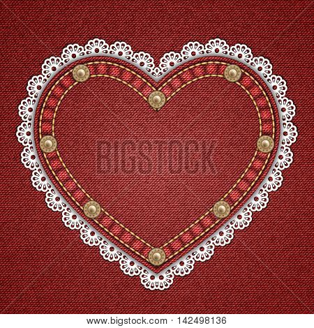 Heart shaped patch with rivets and lace border on denim background. Vector illustration