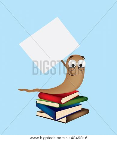 An illustration of a bookworm holding a blank sign