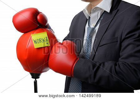 businessman with red boxing glove ready to fight with work business concept
