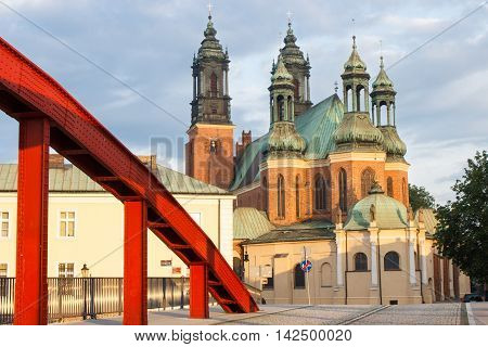 Poznan, Poland - June 29, 2016: Old Bridge And Cathedral Church In Polish Town Poznan