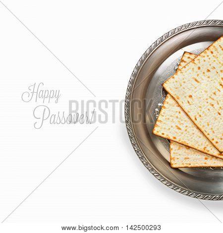 Jewish Passover holiday celebration background with matzos