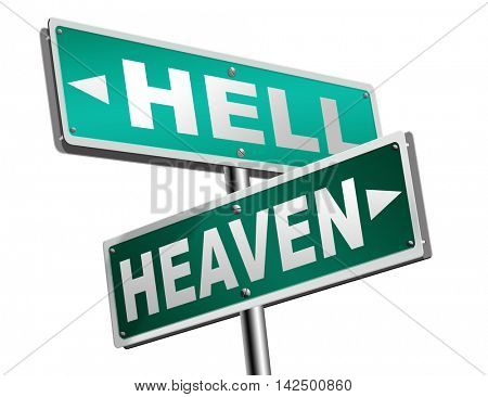 heaven or hell devils and angels salvation from evil save your soul and spirit search and find Jesus and God 3D illustration