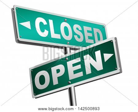 open or close opening hours or closing time start of new season or beginning no access and file or case closed 3D illustration