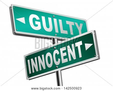 innocent or guilty presumption of innocence until proven guilt as charged in a fair trial for crime suspect 3D illustration