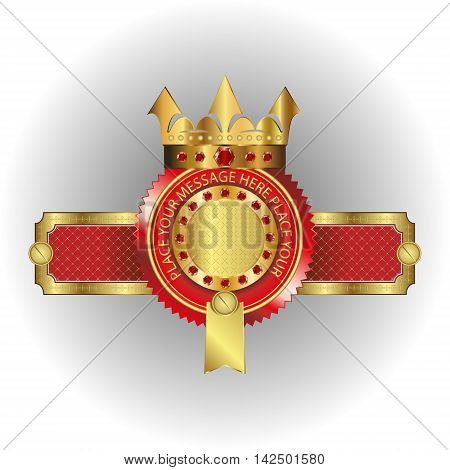vector illustration of a logo of a Golden crown, a halo sign,an emblem in the form of a Golden frame with place for text