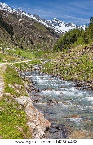 Mountain stream in the rear Ahrntal towards Kehrer Alm South Tyrol Italy