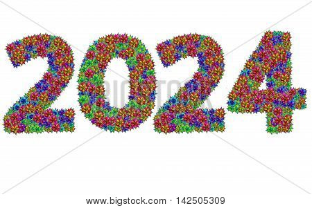 New year 2024 made from bromeliad flowers isolated on white background with clipping path