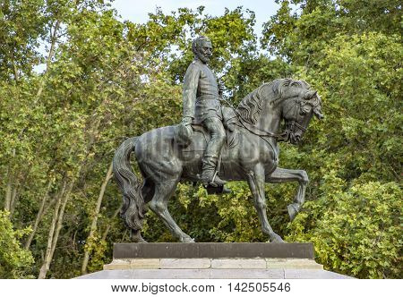 BARCELONA SPAIN - JULY 11 2016: Statue of General Joan Prim in Barcelona Spain.