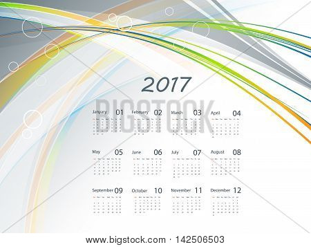 2017 vector wavy  calendar design. Elements for your work. Eps10