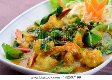 Stir fried shrimp with chili paste Thai food