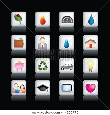 Vector icon set of detailed 3d home icons