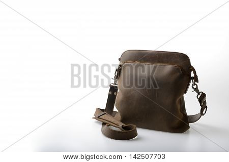 old Leather satchel bag on white background