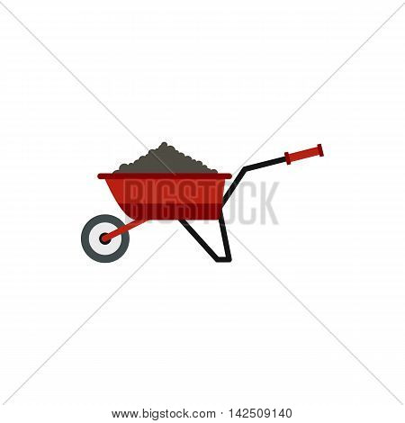 Garden wheelbarrow with earth icon in flat style isolated on white background. Gardening symbol