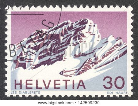 MOSCOW RUSSIA - CIRCA APRIL 2016: a post stamp printed in SWITZERLAND shows view of Les Diablerets the series