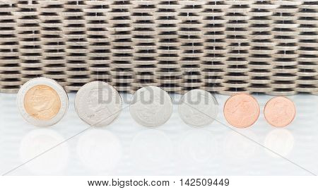 Coins Currency, Coins stacked on each other in different positions. Money concept.