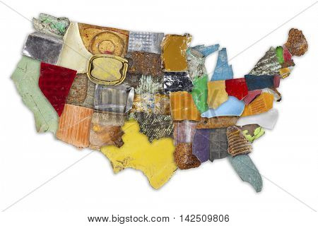Map of mainland USA made from random pieces of colorful trash