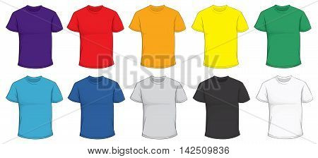 Vector illustration of blank men's t-shirt template in many color red purple blue green gray black white yellow orange front design isolated on white