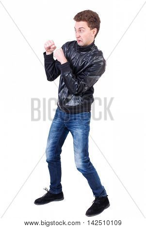 back view of guy funny fights waving his arms and legs. Isolated over white background. Rear view people collection.  backside view of person. Curly guy in a black leather jacket with a funny