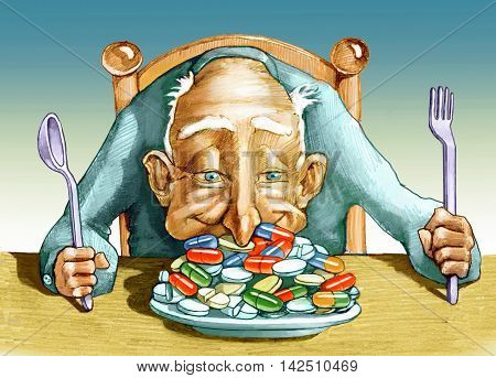 an elder has a plate full of pills and dives nose ecstatically