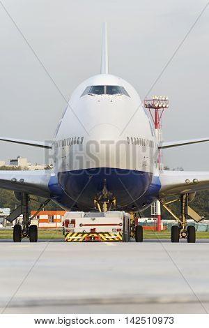Boeing 747 Transaero Towed To The Runway.