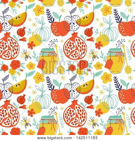 Jewish Holiday Rosh Hashana Seamless Pattern Design With Apples, Honey And Pomegranate. Hand Drawing