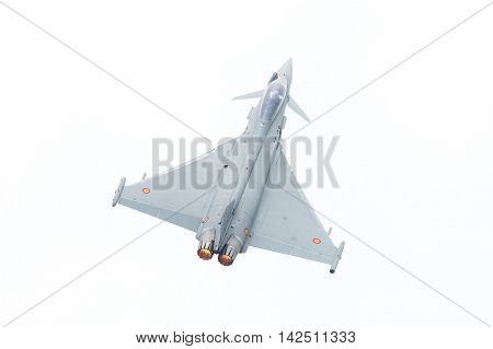 Leeuwarden, The Netherlands - June 10: Spanish Air Force Eurofighter Typhoon Flying During The Dutch